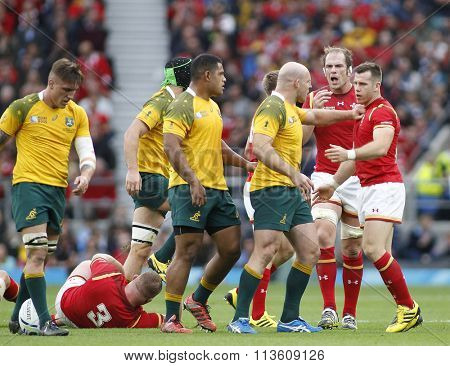 TWICKENHAM, ENGLAND - OCTOBER 10 2015:  during the 2015 Rugby World Cup Pool A match between Australia and Wales at Twickenham Stadium on October 10, 2015 in London, United Kingdom.