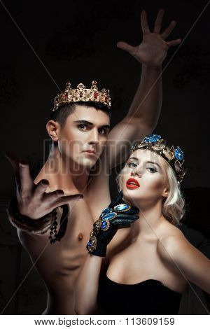 Man And A Woman With Crown On His Head.