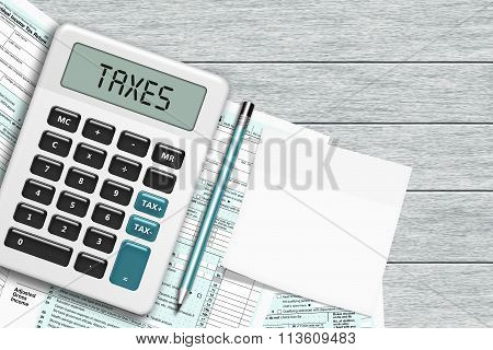 1040 Tax Form With Calculator And Note Lying On Wooden Desk