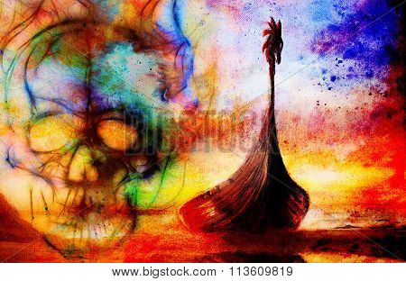 Viking Boat on the beach, painting on canvas, Boat with wood dragon and skull. And structure backgro