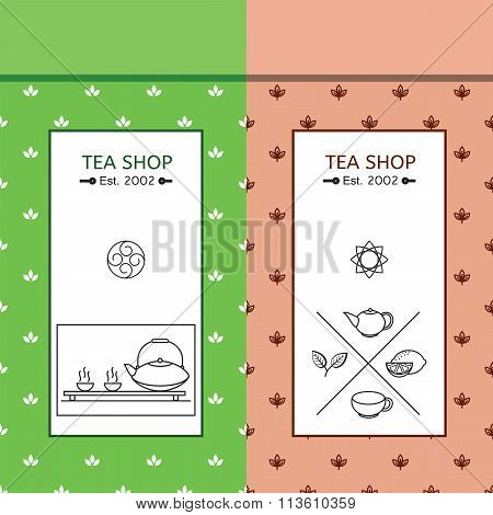 Green and black Chinese tea pack vector color seamless patern