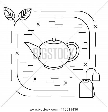 Tea linear logo on white background with  teapot, teabag, leaf