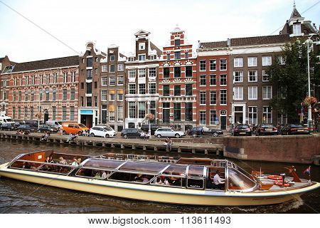 Amsterdam, The Netherlands - August 19, 2015: View On Oude Turfmarkt From Rokin Street. Street Life,