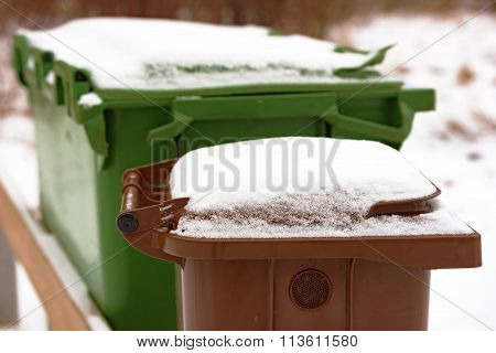 Trash Bin With Snow
