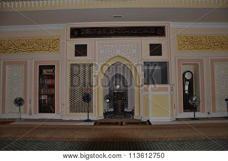 Interior of Tuanku Munawir Royal Mosque in Negeri Sembilan