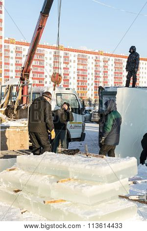 Russian Ice Sculptures Installing Blocks
