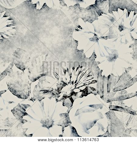 art vintage monochrome watercolor and graphic floral seamless pattern with white and grey roses, asters, gerbera and phlox on dark background