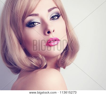 Beautiful Glamour Woman With Long Lashes And Pink Lipstick Looking Sexy. Blond Short Hair. Closeup T
