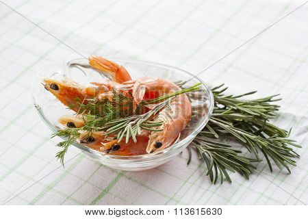 Tiger Prawn Shrimps with rosemary.