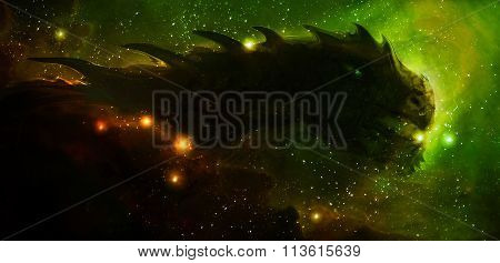Cosmic dragon in space and stars, green, yellow and orange cosmic abstract background. Fire effect