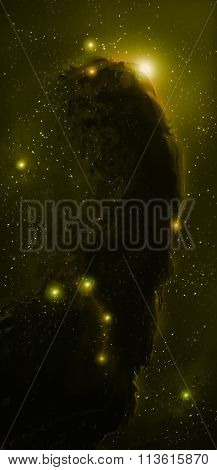 Nebula, Cosmic space and stars, green cosmic abstract background.