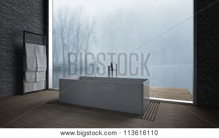 Bathroom interior in winter with a freestanding bathtub in front of a large window overlooking a misty garden. 3d rendering.