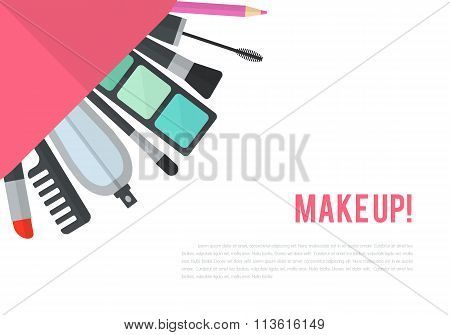 Make up vector flat illustration with lipstick, comb, brush, pal