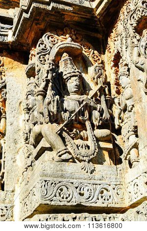 Artistic sculpture of Goddess Saraswati at Hoysaleswara temple at Halebidu, Karnataka