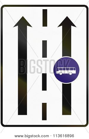 Road Sign Used In Slovakia - Lane For Buses