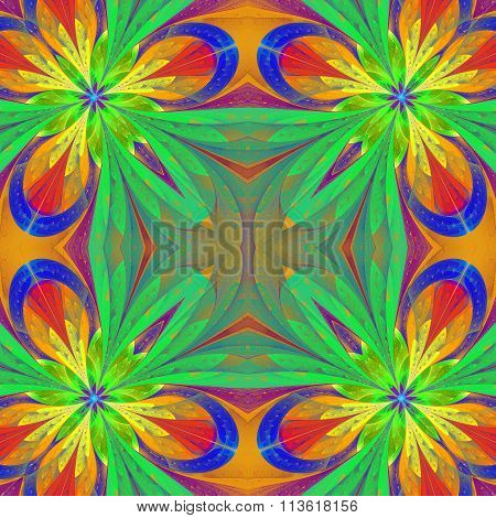 Multicolored Symmetrical Pattern In Stained-glass Window Style. You Can Use It For Invitations,