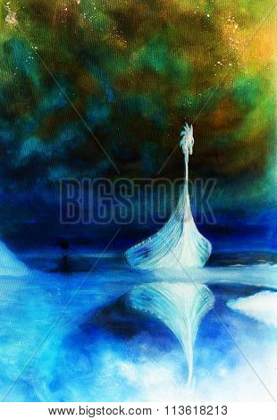 Viking Boat on the beach,  Boat with wood dragon. structure background.