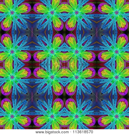 Multicolored Symmetrical Pattern In Stained-glass Window Style. You Can Use It For Invitations, Note