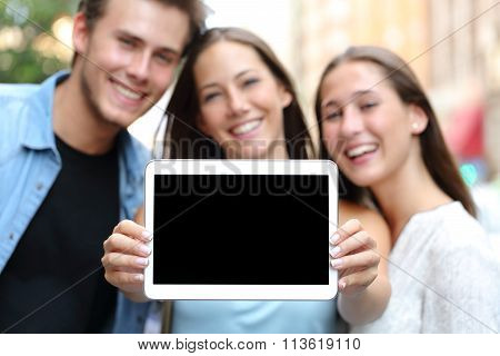 Friends Showing A Blank Tablet Screen
