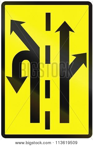 Road Sign Used In Slovakia - Use Of The Lanes In An Intersection (temporary)