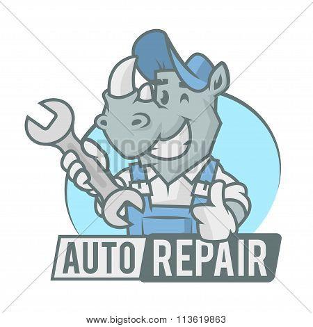 Rhinoceros emblem holding wrench
