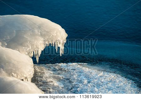 Frozen Bank On A River In Winter