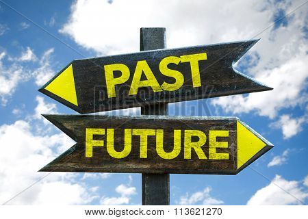 Past - Future signpost with sky background