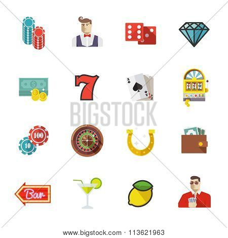 poker vector flat icons