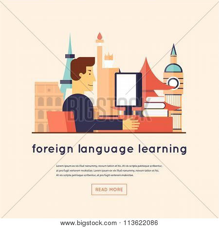Man studying foreign languages.