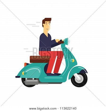 Man rides a moped