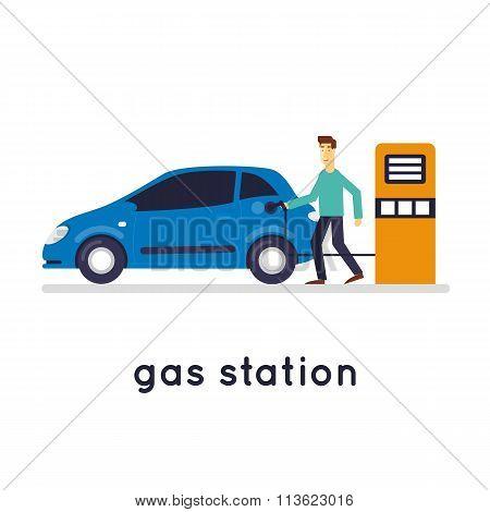 Man refuel the car.