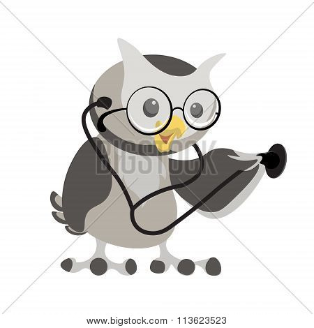 Cartoon Owl In The Glasses With Phonendoscope. Owl Doctor