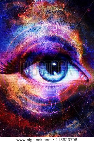 Woman Eye and cosmic space with stars and circle light.  Flah in space, abstract color background, e