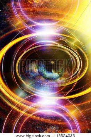 Woman Eye and cosmic space with stars and circle light.  abstract color background, eye contact.