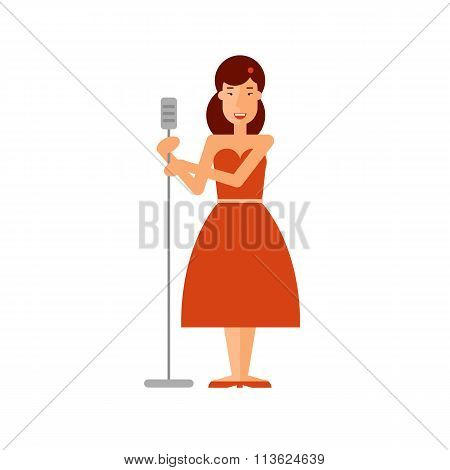 Jazz soloist woman holding a microphone