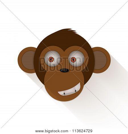 Funny Monkey Head. Cartoon Monkey
