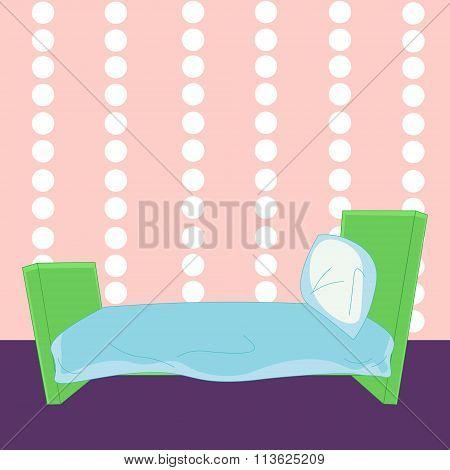 Children Cartoon Bed In Vector
