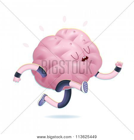 Train your brain series - the vector illustration of brains activity, running. Part of a Brain collection.