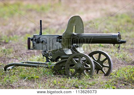 Maxim Machine Gun Of Of The Second World War On The Grass.