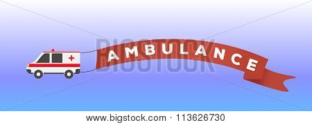 Ambulance Car In Flat Style. Vector