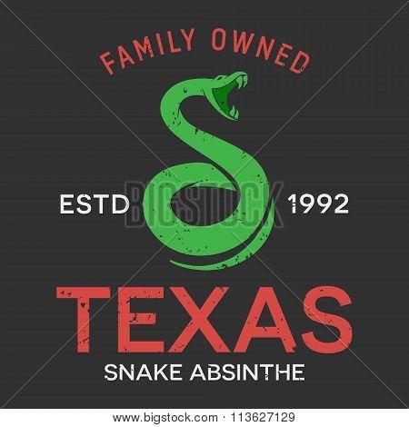 Vector snake vintage emblem design template