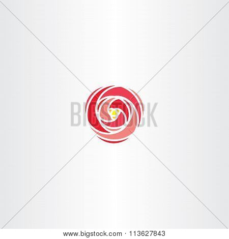 Red Rose Vector Icon Stylized Logo