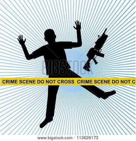dead man machine gun crime scene
