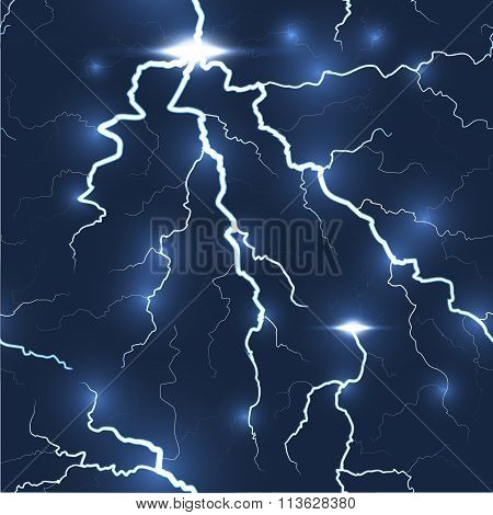 Lightning flash strike seamless, dark background
