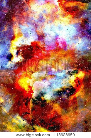 Nebula, Cosmic space and stars, blue cosmic abstract background.