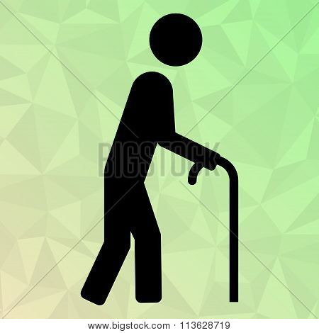 Icon Oldman With Cane On Polygonal Background