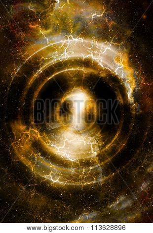 Audio music Speaker in space. Cosmic space and stars, abstract cosmic background, space music, music