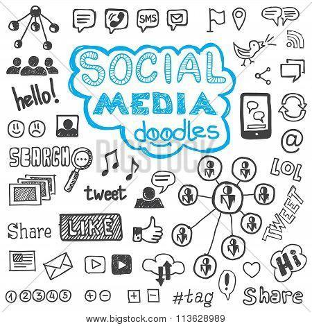 Social Media Doodles Hand Drawn Design Elements
