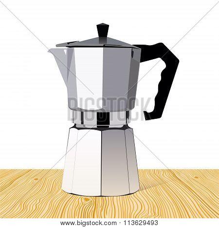 Realistic Italian Metalic Coffee Maker On Wooden Table