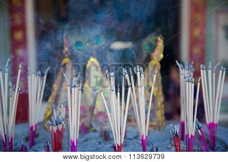 Burning Incense Joss Sticks
